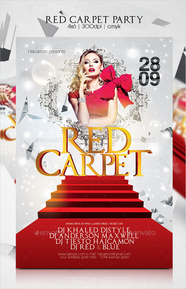 Red Carpet Club Party Flyer