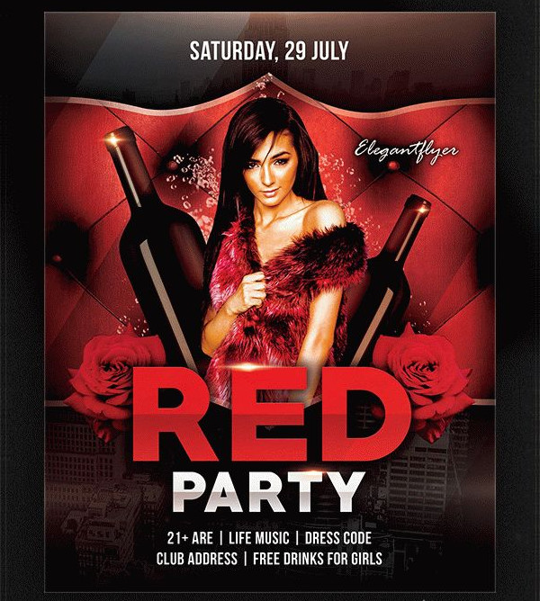 Red Party Free Flyer Template