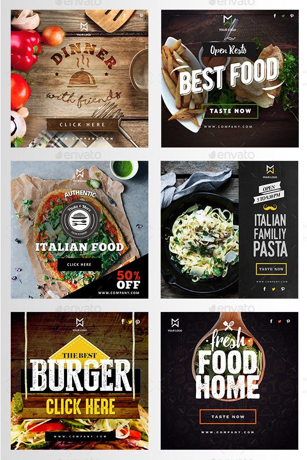 Professional Food & Restaurant Banner Set