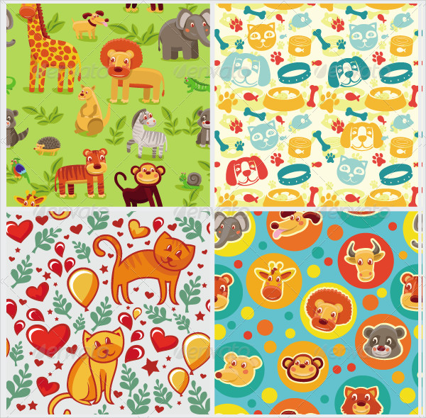 Vector Seamless Patterns with Cartoon Animals