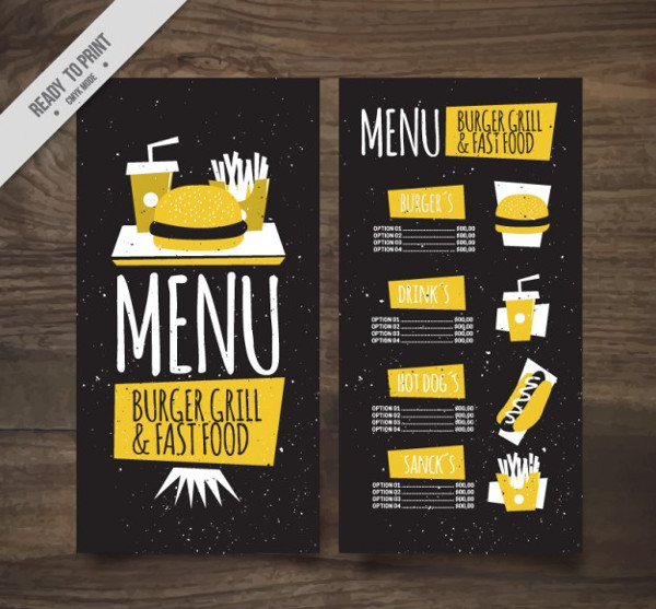 Vintage Bar Menu Free Download