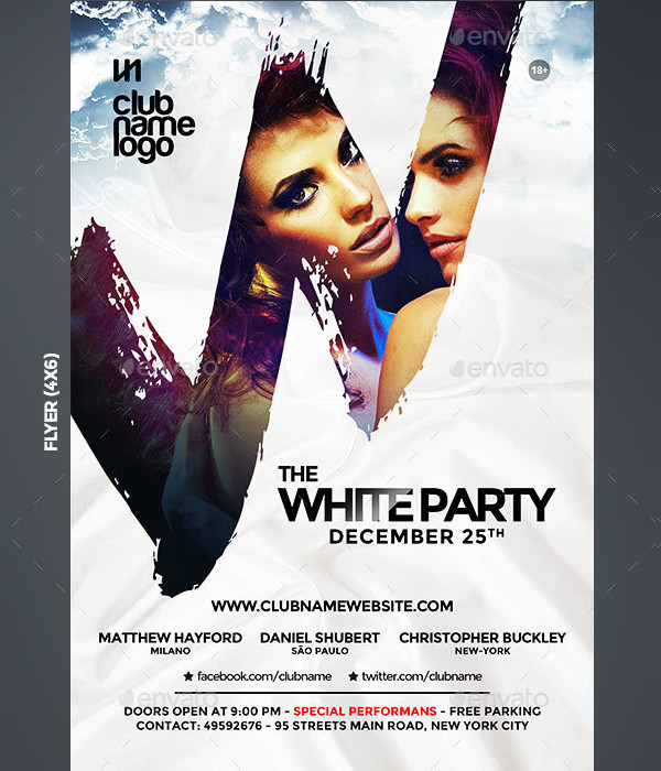 Popular White Party Club Flyer