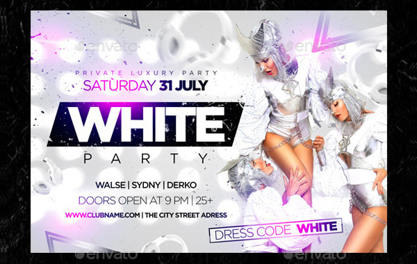Vintage White Party Event Flyer
