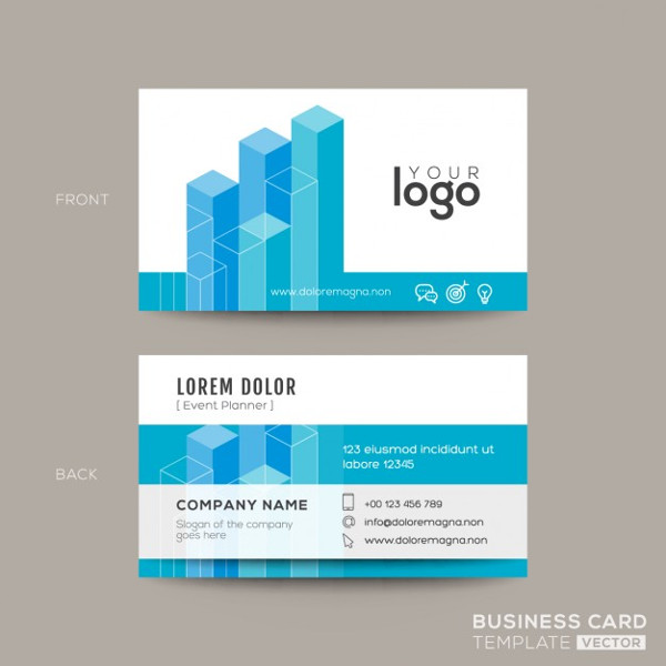 Business Card with Isometric Shapes Free