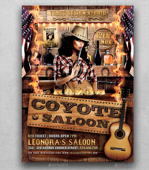 Coyote Bar Party Flyer Templates