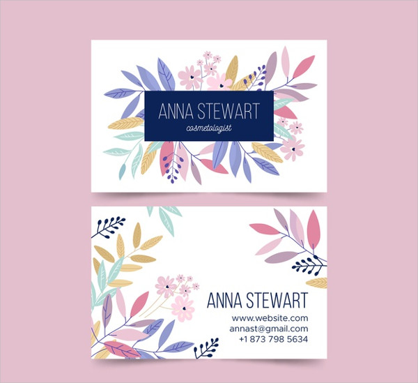 Elegant Business Card with Flowers Free Download
