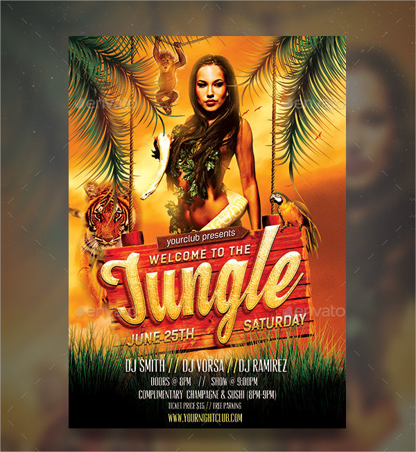 Welcome Jungle Rave Party Flyer Design