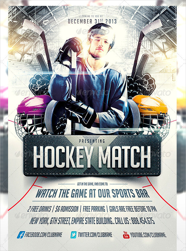 PSD Hockey Match Flyers Template