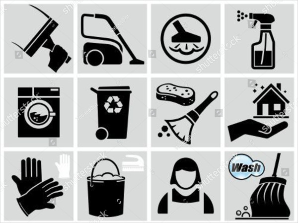 Vector Black Cleaner Icons Set