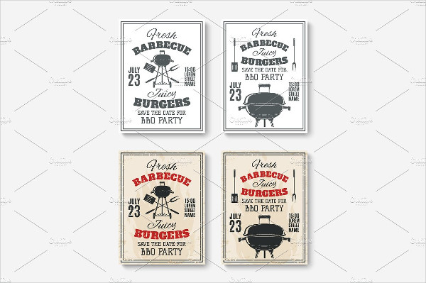 Set of 4 BBQ Poster Templates