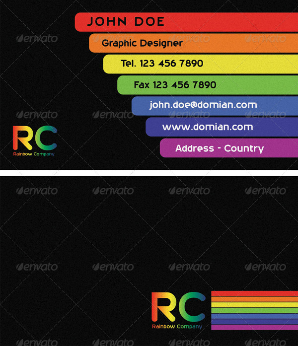 Printable Business Card in Rainbow Style