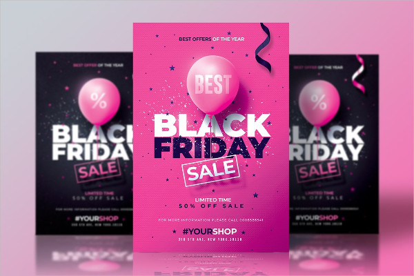 Black Friday Flyers with Black & Pink Versions
