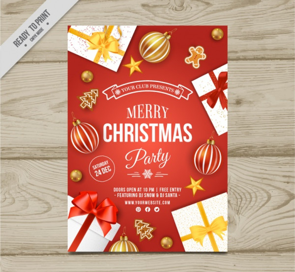 Christmas Party Brochure with Gifts Free