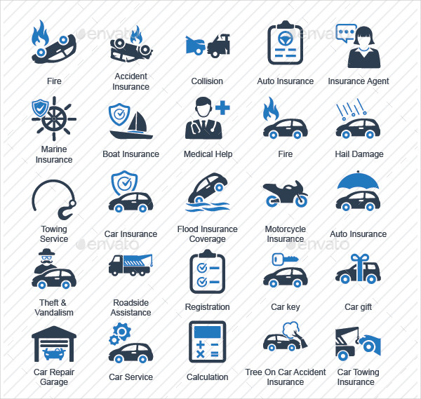 Vehicle Insurance Icon Collection