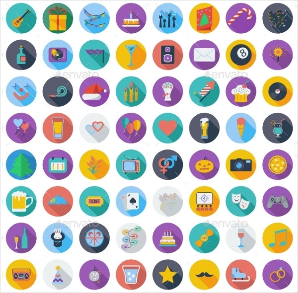 Celebration and Party Color Flat Icons