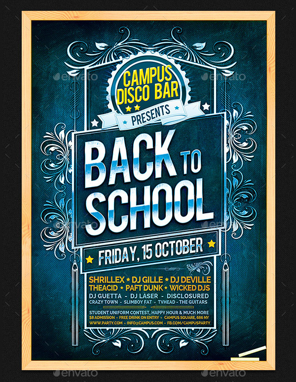 PSD Back To School Party Flyer Template