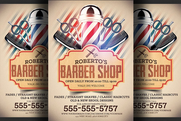 Fully Editable Barber Shop Flyer Template