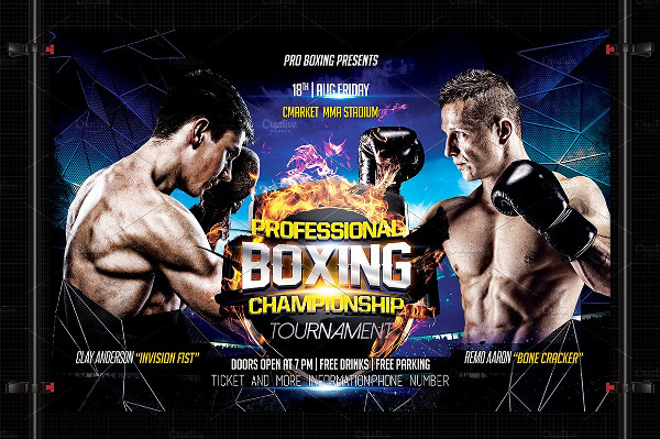 Professional Boxing Event Flyer