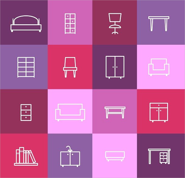 Perfect Home Furniture Line Icons