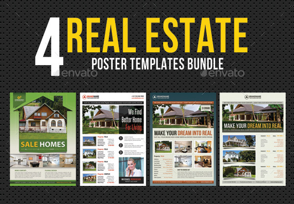 4 in 1 Real Estate Poster Templates Bundle