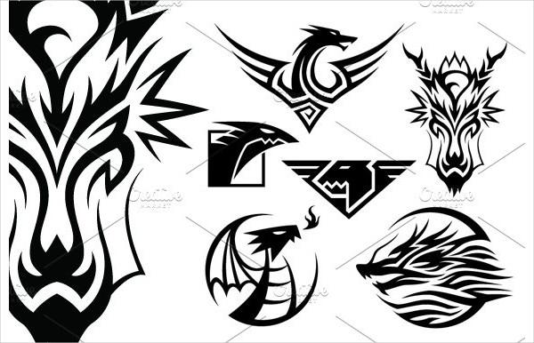 6 Dragon Symbols Vector