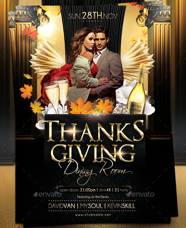 Clean Thanksgiving Day Flyer Design