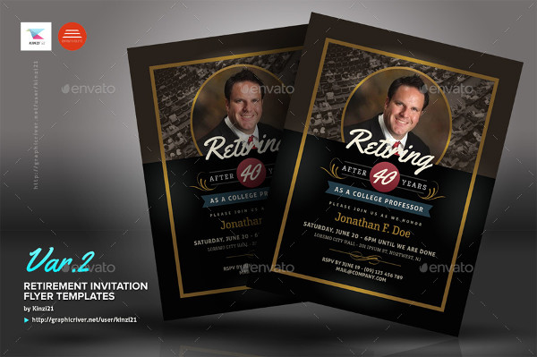 Elegant Retirement Invitation Flyers