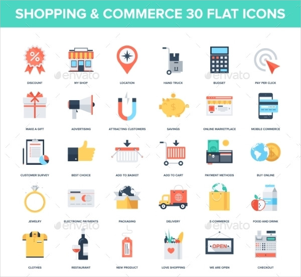 Flat Shopping and Commerce Icon Pack