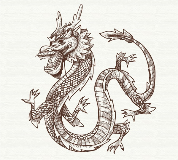 Hand Drawn Traditional Chinese Dragon Free