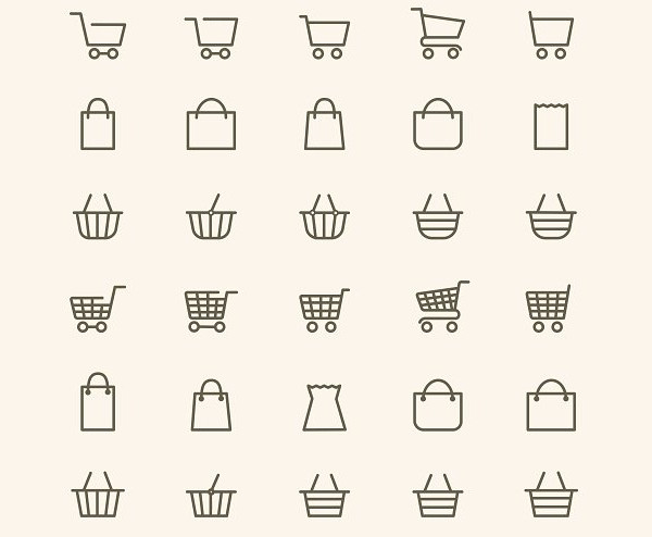 Linear Shopping Basket Icon Pack