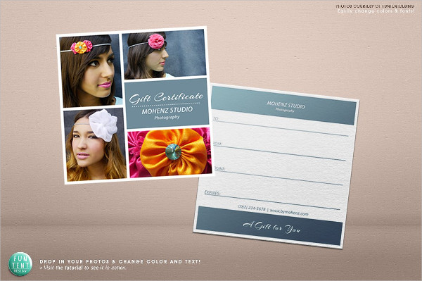 Photo Studio Gift Certificate Design
