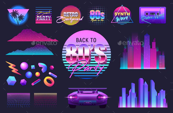 Realistic Retro Wave Party Set of Isolated Icon Set
