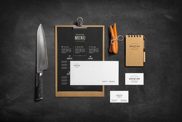 Restaurant & Bar Stationery Branding Mockup Free