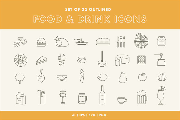 Set of 32 Food and Drink Themed