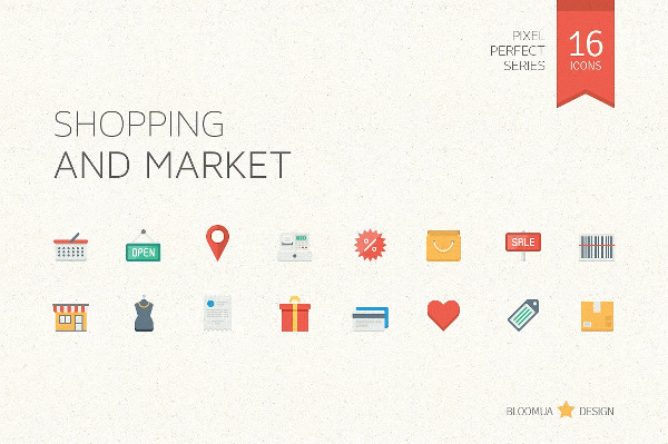 Shopping and Market Flat Icons