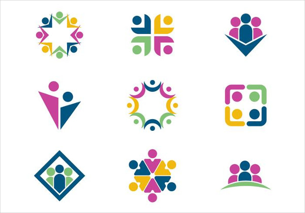 Team Work or Working Together Logo Template Free
