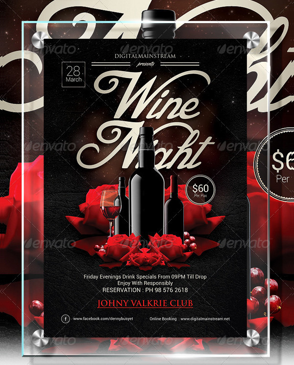 Wine Night Invitation Flyer Template
