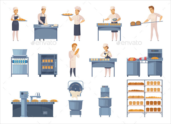Bakery Cartoon Icon Set