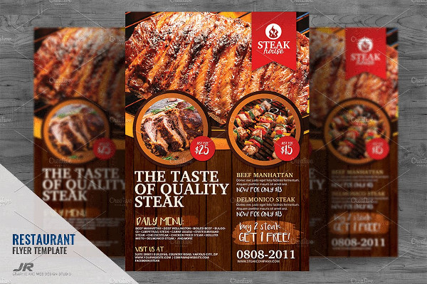 Barbecue Grill Restaurant Flyer Design Template