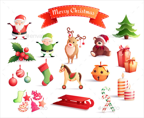 Christmas Decoration Icons Isolated Vector Illustration