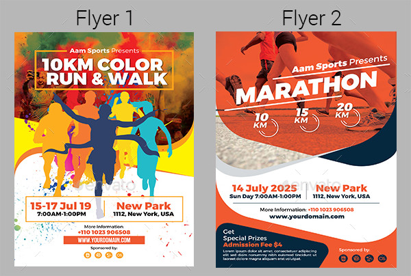 Color Run & Marathon Event Flyers Bundle