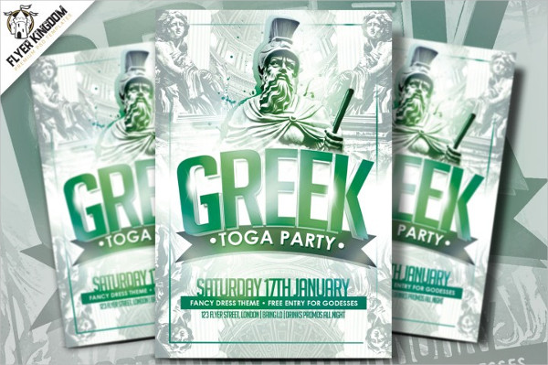 Colorful Greek Toga Party Flyer Template