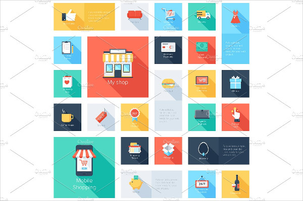 Colorful Shopping Icons Pack