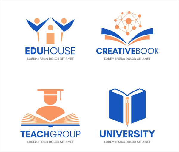 Flat School Logo Templates Collection Free Download