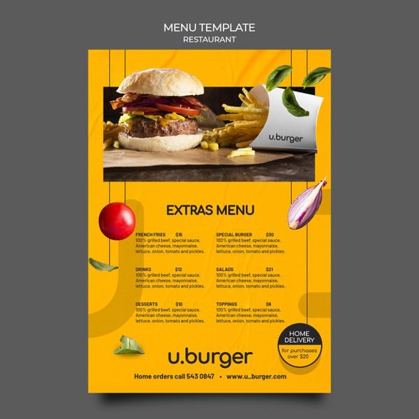 Free Download Burger Menu Template