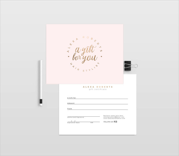 Gold Double Sided Gift Certificates