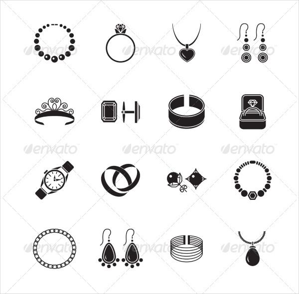 Black Jewelry Icon Set