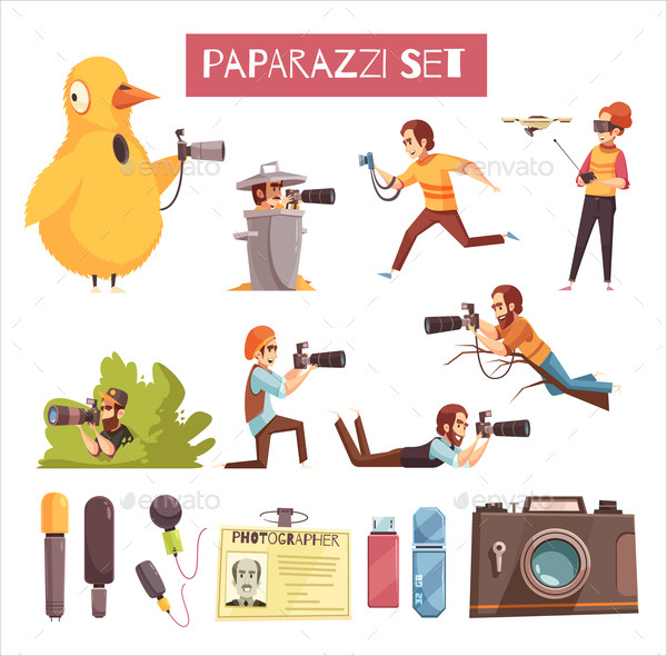 Paparazzi Photographer Cartoon Icon Collection