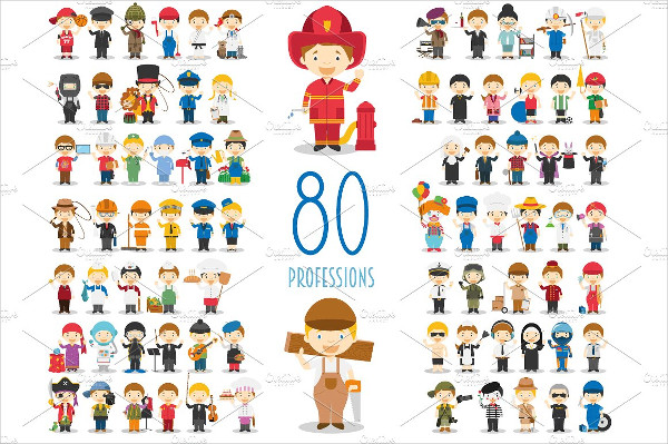 80 Professions in Cartoon Style
