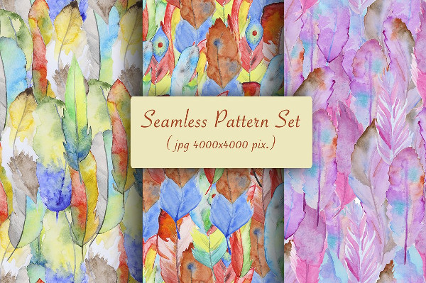 Set of Hand Painted Feather Patterns
